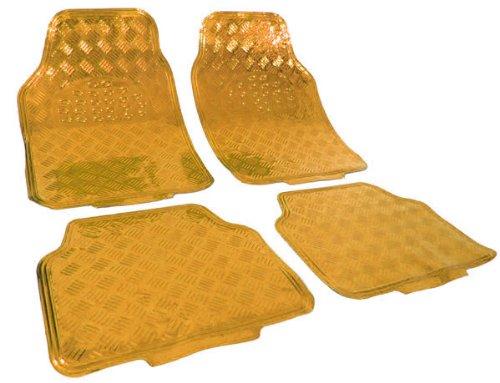 Carparts-Online 20179 Auto Gummi Fußmatten universal Alu Riffelblech Optik chrom gold