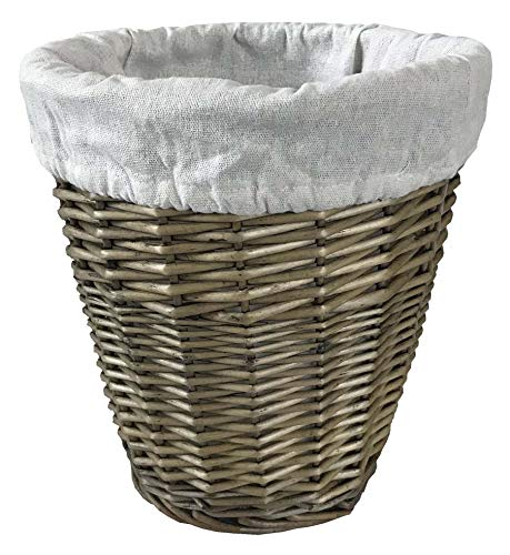 Home-ever Antique Wash Wicker Willow lined Waste Paper Bin (Round) HE06