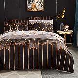 Ropa de cama de 220 x 240 cm gris mármol rayas edredón gris negro geométrico King Size funda de edredón a rayas rayas cuadros juego de ropa de cama de microfibra vintage ropa de cama con cremallera