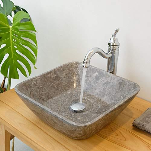 wohnfreuden marmer waskom hoekig 40x40x14cm grijs natuursteen wastafel