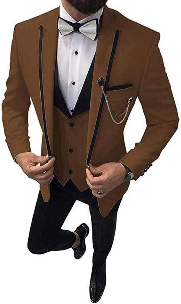 Men's Suits Slim Fit One Button 3 Piece Peak Lapel Wedding Suit