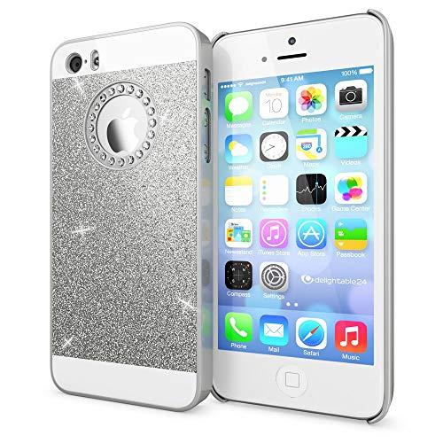 NALIA Handyhülle kompatibel mit iPhone SE 5 5S, Glitzer Slim Hard-Case Back-Cover Schutzhülle, Handy-Tasche im Glitter Design, Dünnes Bling Strass Etui Schale Smart-Phone Skin, Farbe:Silber