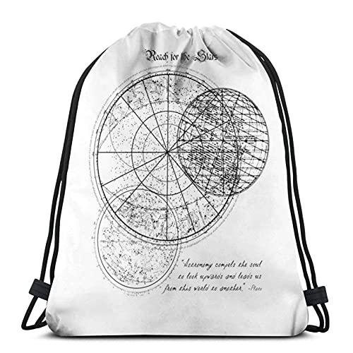 Bolsas con cordón para llegar a las estrellas, tabla de astronomía, unisex, con cordón, bolsa de deporte, bolsa de cuerda, bolsa grande con cordón, mochila de gimnasio a granel