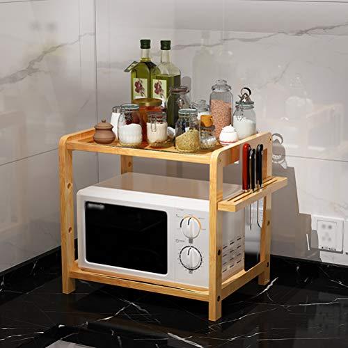 Kitchen furniture - Étagère de ménage à double couche réglable avec support à couteau et four à micro-ondes en bambou WXP (taille : 53X33X40CM)