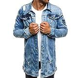 Uomo Jeans Giacca Lunghi Fashion Maniche Lunghe Jeans Giacca Autunno Eleganti Giovane Strappato Tempo Libero Denim Giubbino Cappotto Outwear Autunno Casual Vintage 3XL