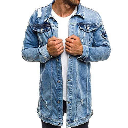 cappotto uomo fashion Uomo Jeans Giacca Lunghi Fashion Maniche Lunghe Jeans Giacca Autunno Eleganti Giovane Strappato Tempo Libero Denim Giubbino Cappotto Outwear Autunno Casual Vintage 3XL