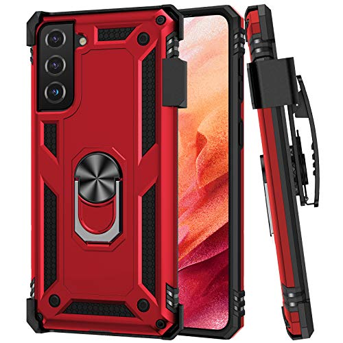 Ruky Galaxy S21 5G Hülle, Samsung S21 5G Hülle mit Gürtelclip Holster Ringhalter, Militärqualität, Passform für magnetische KFZ-Halterung, stoßfest, kratzfest, robuste Schutzhülle für Samsung Galaxy S21 5G 15,7 cm (6,2 Zoll) (rot)