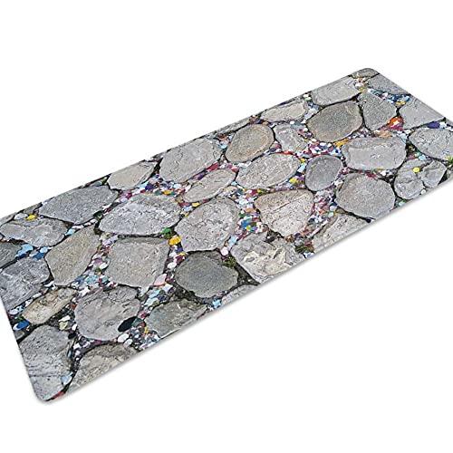 OPLJ Alfombrillas de sofá Modernas Antideslizantes con Estampado de Piedra 3D, Alfombrilla de Pasillo para Sala de Estar, Felpudo de Entrada de Bienvenida a casa A9 50x160cm