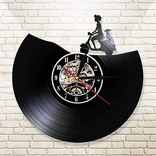 ZYBBYW Motto Motocicleta Retro Vinilo Reloj de Pared Rider Reloj de Pared Motocicleta Reloj de Pared Scooter decoración Reloj silencioso Rider Regalo