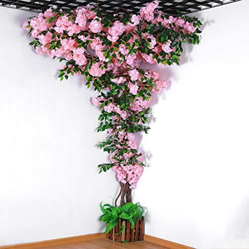 Árbol de flor de cerezo de flor artificial, Fake Vines Artificial Flower, flores de simulación de seda de sakura con rama de banyan para la decoración de la pared del banquete de boda,Light pink