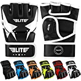 MMA UFC Gloves for Men, Women, and Kids, Elite Sports Best Mixed Martial Arts Sparring Training Grappling Fighting Gloves (White/Black, Medium)