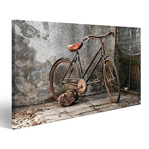 islandburner Bild Bilder auf Leinwand altes rostiges Fahrrad über einem grunge Hintergrund Wandbild, Poster, Leinwandbild IYW