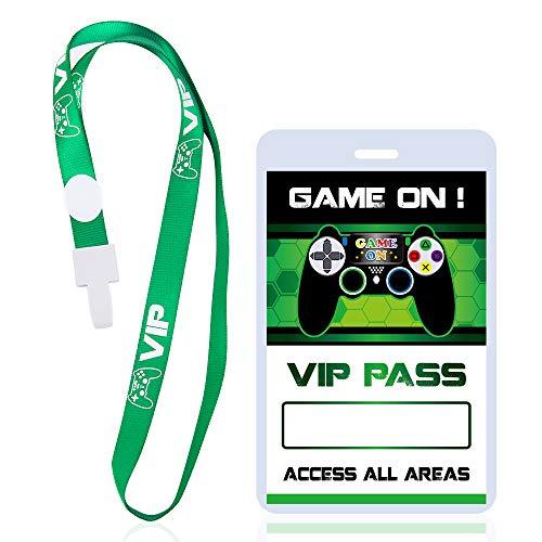 WERNNSAI Boleto Pass VIP para la Fiesta del Juego - 16 PCS Suministros para Fiestas de Videojuegos para Niños Tarjetas de Pases de Fiesta de Cumpleaños Temáticas y Titulares de Tarjetas con Co
