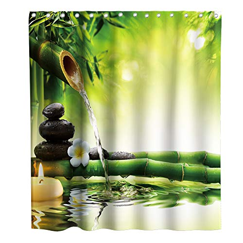 Final Friday Green Bamboo Shower Curtain 3D Zen Spa Asian Spring Nature Theme Fabric Sets Bathroom Japanese Decor with Hooks Waterproof Washable 70 x 70 inches Yellow