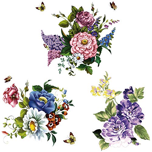 3Pcs Peony Rose Lavender Butterfly Flower Wall Stickers Beauty Flowers Decals Self Adhesive Removable Waterproof Vinyl Art Murals for Living Room Bedroom Toilet Restroom House DIY Decoration (Style D)