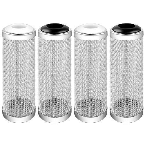 Heqishun 4 Piezas Filtro de Acuario de Acero Inoxidable, Protector de Malla de Filtro de Red para los Peces Camarones Protector del Filtro para Acuarios, 16 mm (2 Blanco y 2 Negro)