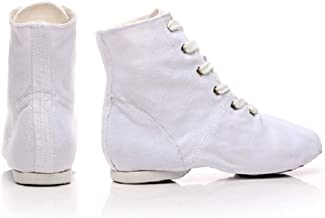 NLeahershoe Lace-up Canvas Dance Shoes Flat Jazz Boots for Practice, Suitable for Both Men and Women (10W/9M/44, White)