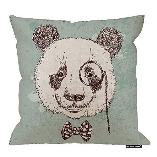 Funda de almohada de Panda, diseño vintage de oso panda con gafas y lazo, algodón, lino, poliéster, decoración decorativa del hogar, sofá, silla de escritorio, dormitorio, 45,7 x 45,7 cm