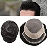Fine Mono Mens Toupee Black Human Hair System Natural Hairline Bleached Knot Lace Front Hairpiece Mono Wigs (710, #1B Off Black 120%)