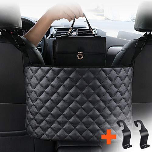 PRUGNA Car Net Pocket Handbag Holder, Car Organizer Bag for Handbag and Wallet Storage, Seat Back Bag Between Seats (Leather Holder)
