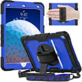 Timecity iPad Air 3 Case 10.5 Inch 2019 iPad Air 3th Generation Case A2123 A2152 A2153 A2154, with Screen Protector/Swivel Kickstand/Hand Strap/Pencil Holder Cover Cases for iPad Air 3th Gen, DarkBlue