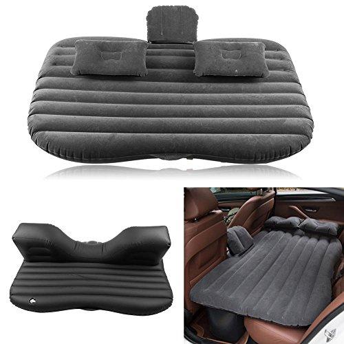Aufblasbare Auto-Matratze mit Kissen, SUV-Auto-Luftmatratze Bett Mobil für Outdoor Home Camping Car, Pumpe zum Aufblasen, 136x85x13cm (schwarz)