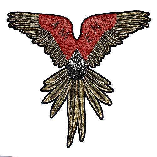 EMDOMO Fashion Grote pailletten Kralen vleugel patches voor kleding borduurwerk Applique jas terug patches Naai op Badg 1 stuk