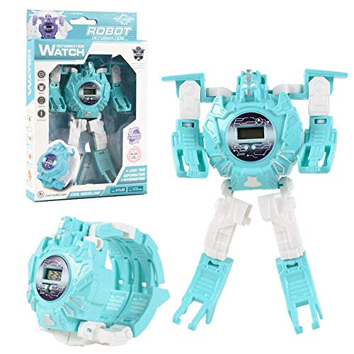 Fewao Robot Watch Kids Transformers Toys 2 in 1 Electronic Transform Toys Watch Deformed Robot Manual Transformation Robot Toys Children's Gift 3-6 Ages for Boys Girls Electronic Digital Watch, Blue