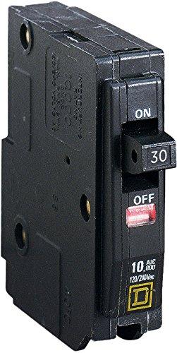 Schneider Electric QO130 Interruptor Termomagnético Enchufable de 1 Polo 30 A con Ventana y Bandera de Disparo Visi-Trip