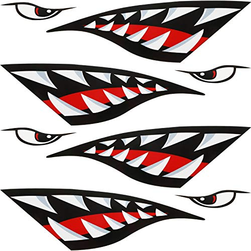 4 Pieces Shark Teeth Mouth Reflective Decals Graphic Sticker Boat Canoe Fishing Stickers Kayak Decals for Canoe Kayak Fishing Surfboard Ocean Boat Car Truck Reflective Decals Accessories