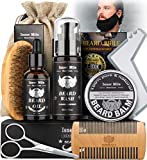 Beard Care Kit for Men, Best for Dad Him Husband Boyfriend, Complete Grooming and Cutting Tool Set - Beard Shampoo, Beard Growth Oil, Balm, Brush, Comb, Scissors, Beard Guide