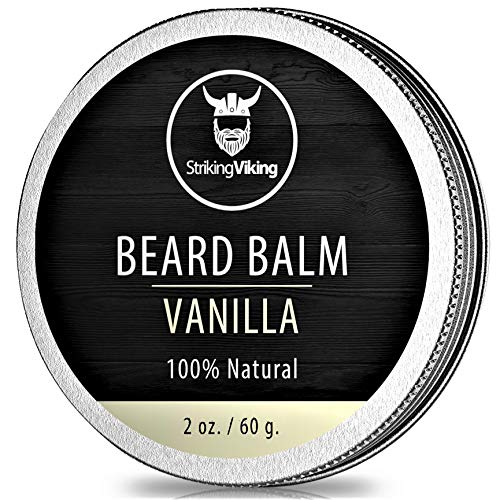 Vanilla Beard Balm - Styles, Strengthens & Softens Beards and Mustaches - 100% Natural Beard Conditioner with Organic Shea Butter, Tea Tree, Argan & Jojoba Oils with Vanilla Scent by Striking Viking