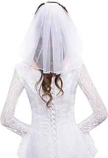 QERMULAチュールウェディングドレスベールホワイトリボンエッジラインストーンフェイクパールショートブライダルヘアベールコーム花嫁妖精結婚アクセサリーウェディングベールC#