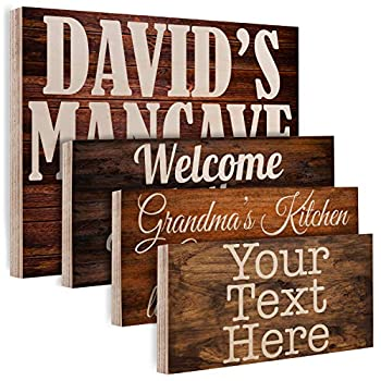 Personalized Wood Signs for Gift - Customized Wooden Board Plank Decoration Gifts - Custom Family Wood Sign Name Date - Home Kitchen Wall Art Farmhouse Vintage Rustic Wall Decor Different Size -C01