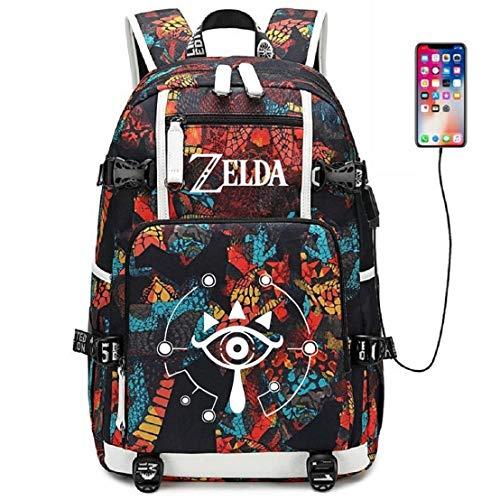 YOYOSHome Luminous Anime The Legend of Zelda Cosplay Bookbag Daypack Laptop Tasche Rucksack Schultasche mit USB-Ladeanschluss