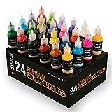 24 Bouteilles de Peinture Textile et Tissu en 3D - Pressez les Tubes (29mL) pour Etaler Peintures sur Tissus (Coton) -...
