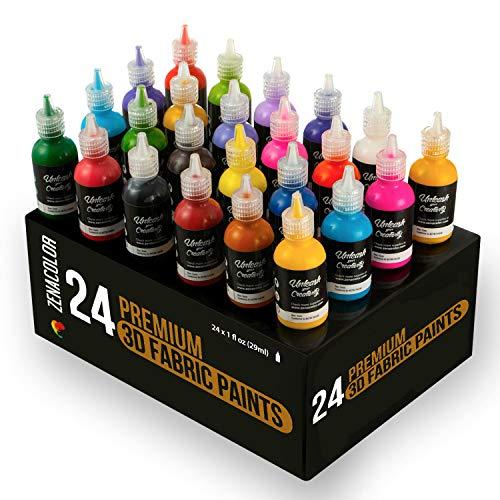 24 Botellas de Pintura 3D Textil y Tejido - Aprieta sobre los Tubos (29mL) para Extender Pintura para Ropa (Algodón) - Personaliza Camisetas, Ropa y Decora Cuadros, Madera, Vidrio