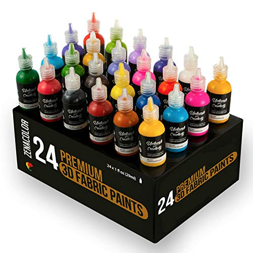 24 Bottles of 3D Fabric Paint Zenacolor - Squeeze The Tubes (29mL) to Apply The Paint to Textiles (Cotton) - Fabric Paints for T-Shirts, Personalise Your Clothes and Decorate Canvas, Wood, Glass