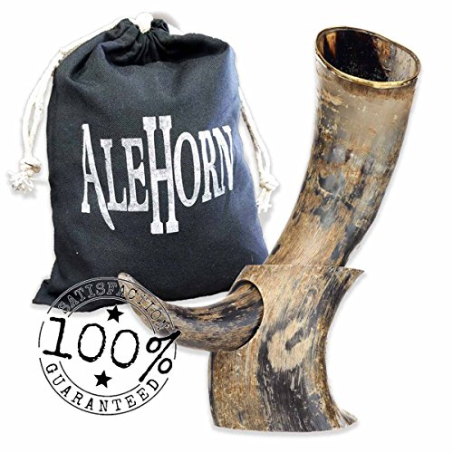 AleHorn Handcrafted 12 Natural Viking Drinking Horn with Stand by Ale Horn