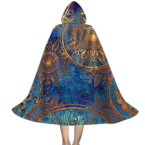 Amanda Walter Kids Cape Cloak with Hood Tribal Blue Gold Circles Floral Ornament Unisex Hooded Cloak Coat Witch Robe Cape Halloween Cosplay Party Cloak