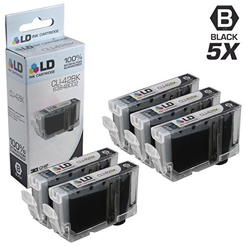 Price comparison product image LD Compatible Ink Cartridge Replacement for Canon CLI-42BK 6384B002 (Black,  5-Pack)