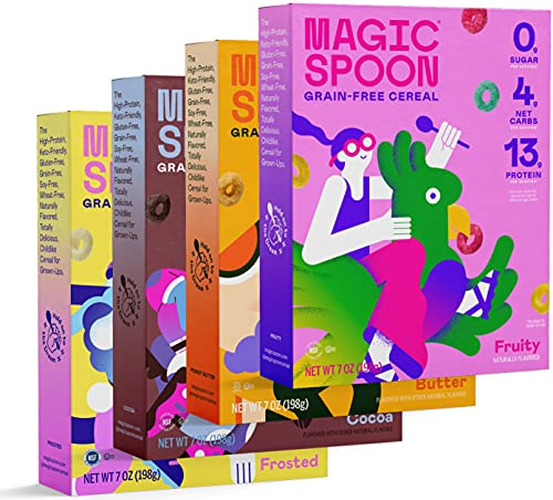 magic spoon flavors Magic Spoon Cereal - High Protein, Low Carb, Zero Sugar, Gluten & Grain Free, Non-GMO, Keto Breakfast Cereal - 4 Flavor Variety Pack