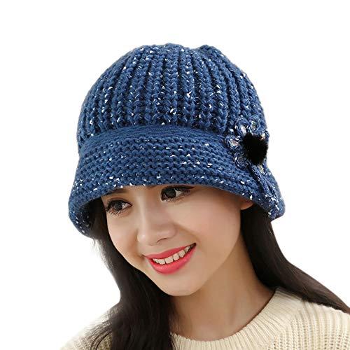 Mode Winter Frauen Hüte eine Mütze Beanie Strickmütze bequem lässig Blume Stricken häkeln Mütze warme Baskenmütze A A6