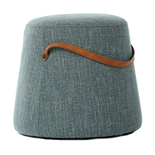 NNHDWS Linen Stools, Creative Small Piers, Household Shoe Changing Stools, Living Room Fabric Sofa Stools, Portable Low Stools, Footstools, Makeup Stools,lake blue