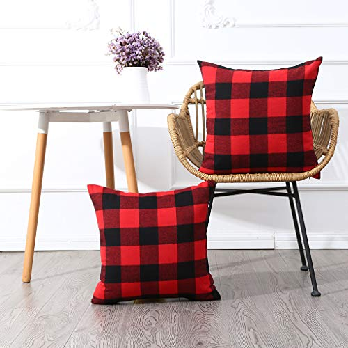 MKLFBT Pack of 2 Christmas Red and Black Buffalo Check Plaid Throw Pillow Covers 18 x 18 Cushion Cover Valentine's Day Decor Cotton Polyester Pillowcase for Sofa Couch Car Bedroom