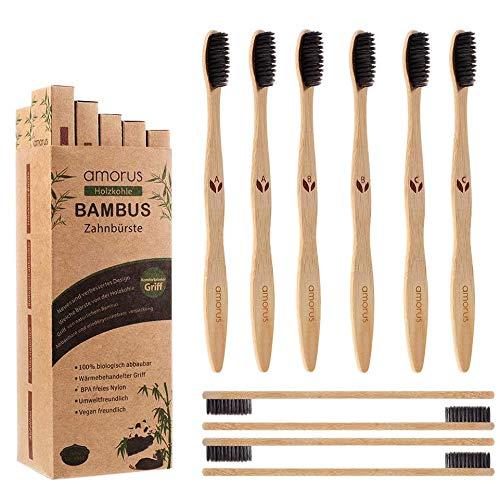 Lot de 10 Brosses à Dents en Bambou Biodégradable avec des Poils Doux Ergonomique et...