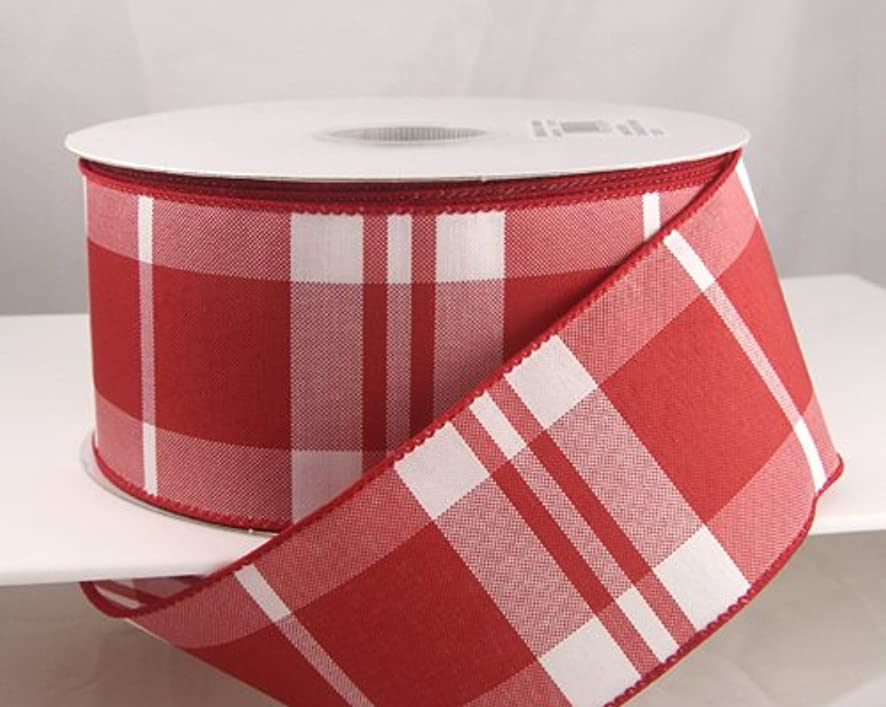 Reliant Ribbon 90248W-695-40J Woods Plaid Wired Edge Ribbon, 2-1/2 Inch X 25 Yards, Red/White