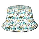 Sombreros de Cubo Garabatos Dibujados a Mano Habitantes del océano Peces Rociadores de Agua Ballena y Sol Naciente Sombrero de Playa con Tapa Plana para protección UV