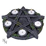 Nemesis Now Wiccan Pentagram - Portavelas (25,5 cm, Resina, Talla única), Color Negro