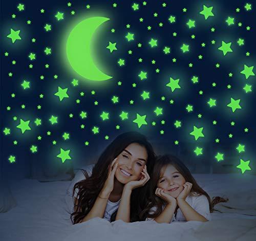 Pegatinas de Pared Fluorescentes, 581 piezas de Pegatinas de Estrellas y Luna, Decoración de Pegatinas Brillantes para Sala de Estar, Habitación de Niños